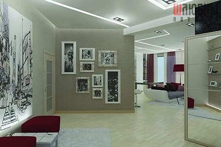 Матовый натяжной потолок с парящими линиями Белые ночи в Могилеве фото
