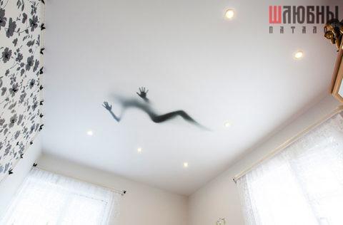 Матовый одноуровневый потолок с фотопечатью и точечным освещением в Могилеве фото