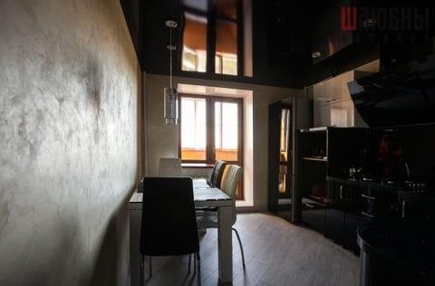 Черный натяжной потолок в кухню в Могилеве фото 2