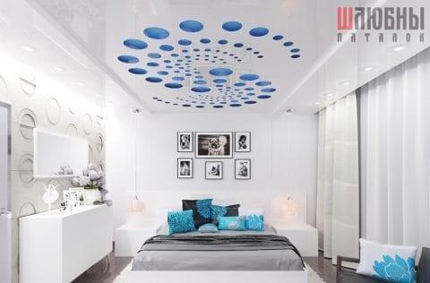 Двухуровневый резной натяжной потолок Apply в спальне в Могилеве фото