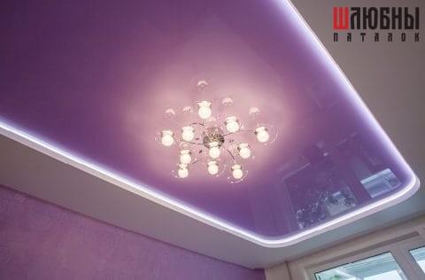 Двухуровневый потолок с подсветкой в гостиную в Могилеве фото 1