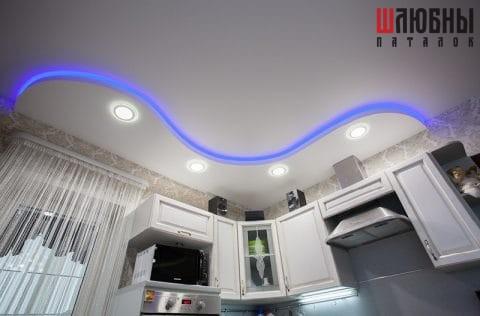 Двухуровневый натяжной потолок с подсветкой в кухню в Могилеве фото 1