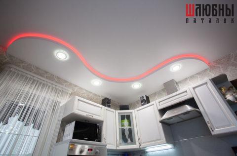 Двухуровневый потолок с RGB подсветкой в Могилеве фото