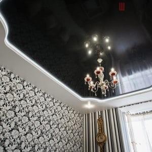 Двухуровневый натяжной потолок с подсветкой в гостиную в Могилеве фото 1