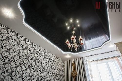 Двухуровневый потолок с подсветкой в гостиную в Могилеве фото