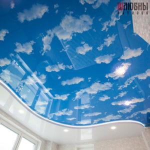 Двухуровневый натяжной потолок с подсветкой Небо в Могилеве фото