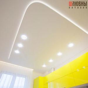 Двухуровневый натяжной потолок с подсветкой в студию, кухню в Могилеве фото