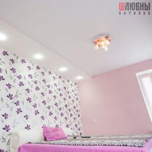 Двухуровневый сатиновый натяжной потолок в спальню в Могилеве фото 1