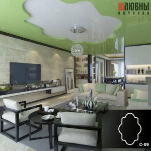 Красивый двухуровневый потолок в гостиной в Могилеве фото