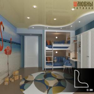 Красивый многоуровневый натяжной потолок в детской в Могилеве фото