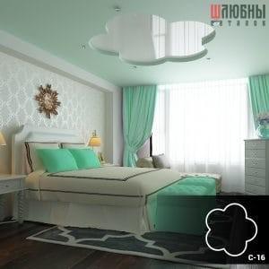 Красивый многоуровневый натяжной потолок в спальне в Могилеве фото 2