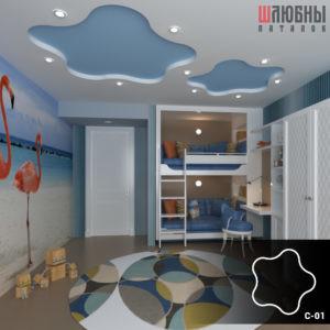 Красивый натяжной звездный потолок в детской в Могилеве фото
