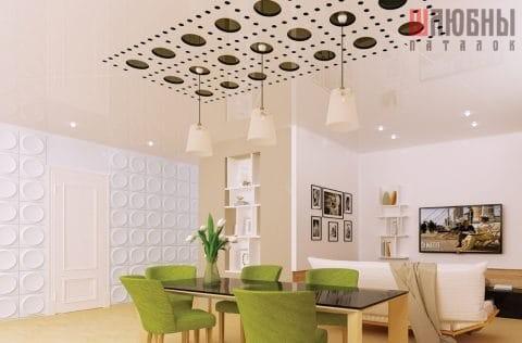 Резной натяжной потолок Apply в студии с зонированием в Могилеве фото